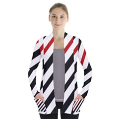 Red, Black And White Lines Women s Open Front Pockets Cardigan(p194)
