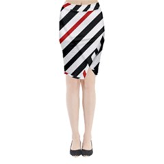 Red, Black And White Lines Midi Wrap Pencil Skirt