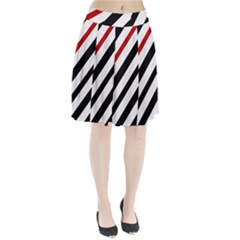 Red, black and white lines Pleated Skirt
