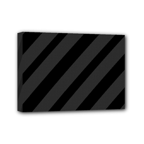 Gray and black lines Mini Canvas 7  x 5