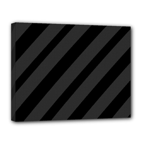 Gray and black lines Canvas 14  x 11