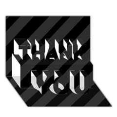 Gray and black lines THANK YOU 3D Greeting Card (7x5)