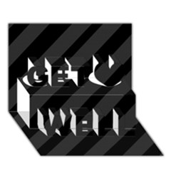 Gray and black lines Get Well 3D Greeting Card (7x5)