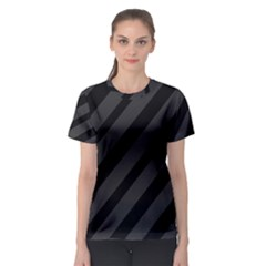 Gray and black lines Women s Sport Mesh Tee