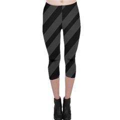 Gray and black lines Capri Leggings