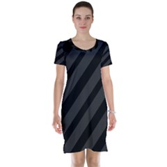 Gray and black lines Short Sleeve Nightdress