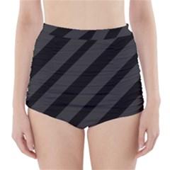 Gray and black lines High-Waisted Bikini Bottoms