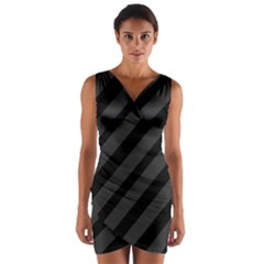 Gray and black lines Wrap Front Bodycon Dress