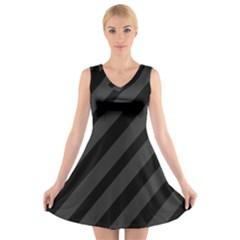 Gray and black lines V-Neck Sleeveless Skater Dress