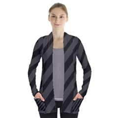 Gray and black lines Women s Open Front Pockets Cardigan(P194)