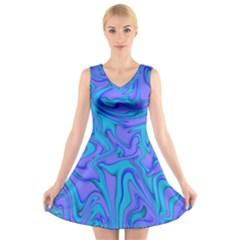 Purpleslush V Neck Sleeveless Skater Dress