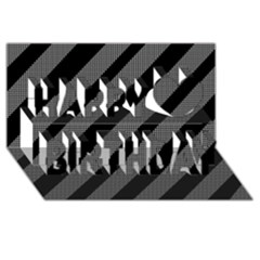 Black and gray lines Happy Birthday 3D Greeting Card (8x4)