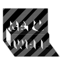 Black and gray lines Get Well 3D Greeting Card (7x5)