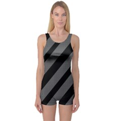 Black and gray lines One Piece Boyleg Swimsuit