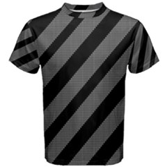 Black and gray lines Men s Cotton Tee