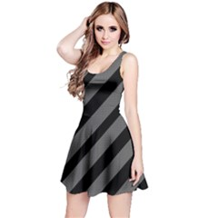 Black and gray lines Reversible Sleeveless Dress