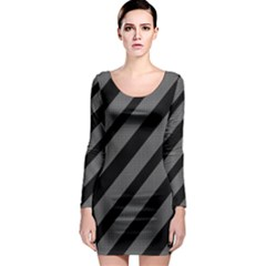 Black and gray lines Long Sleeve Bodycon Dress