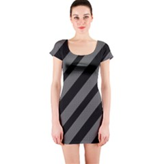 Black and gray lines Short Sleeve Bodycon Dress