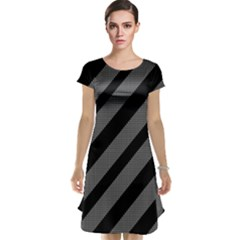 Black and gray lines Cap Sleeve Nightdress