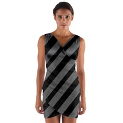 Black And Gray Lines Wrap Front Bodycon Dress