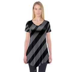 Black and gray lines Short Sleeve Tunic