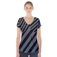 Black and gray lines Short Sleeve Front Detail Top