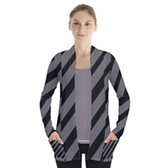 Black and gray lines Women s Open Front Pockets Cardigan(P194)