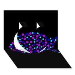 Purple fish Heart 3D Greeting Card (7x5)