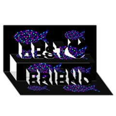 Purple fishes pattern Best Friends 3D Greeting Card (8x4)