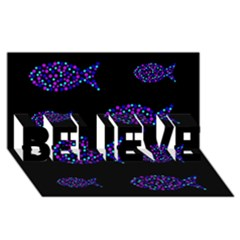 Purple fishes pattern BELIEVE 3D Greeting Card (8x4)