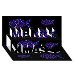 Purple fishes pattern Merry Xmas 3D Greeting Card (8x4)