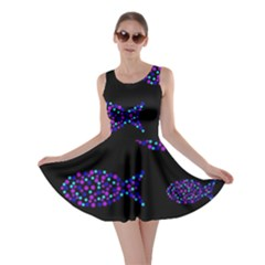 Purple fishes pattern Skater Dress