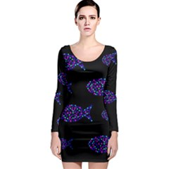 Purple fishes pattern Long Sleeve Bodycon Dress