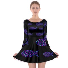 Purple fishes pattern Long Sleeve Skater Dress