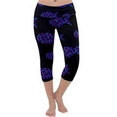 Purple fishes pattern Capri Yoga Leggings