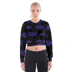 Purple fishes pattern Women s Cropped Sweatshirt