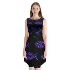 Purple fishes pattern Sleeveless Chiffon Dress