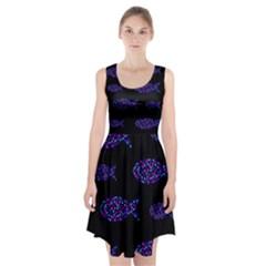Purple fishes pattern Racerback Midi Dress