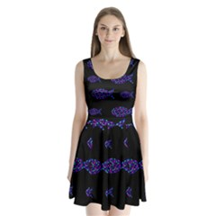 Purple fishes pattern Split Back Mini Dress