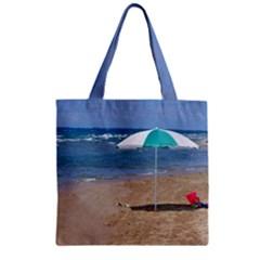 Beach Umbrella Zipper Grocery Tote Bag