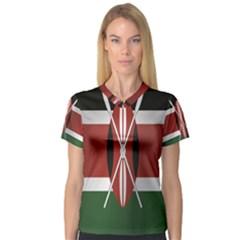 Flag Of Kenya Women s V-Neck Sport Mesh Tee