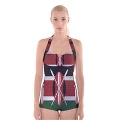 Flag Of Kenya Boyleg Halter Swimsuit