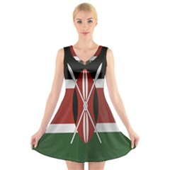 Flag Of Kenya V-Neck Sleeveless Skater Dress