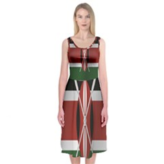 Flag Of Kenya Midi Sleeveless Dress