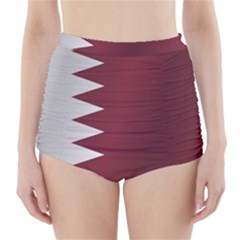 Flag Of Qatar High-Waisted Bikini Bottoms