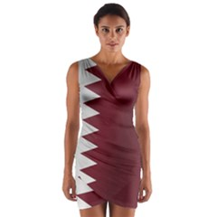 Flag Of Qatar Wrap Front Bodycon Dress