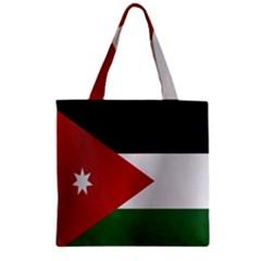 Flag Of Jordan Zipper Grocery Tote Bag
