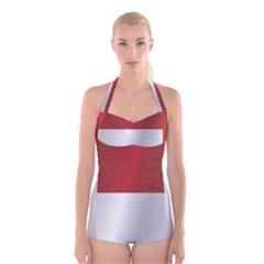 Flag Of Indonesia Boyleg Halter Swimsuit