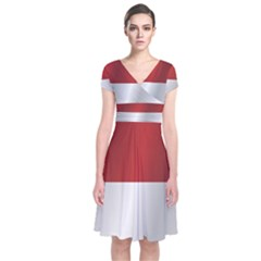 Flag Of Indonesia Short Sleeve Front Wrap Dress