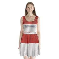 Flag Of Indonesia Split Back Mini Dress
